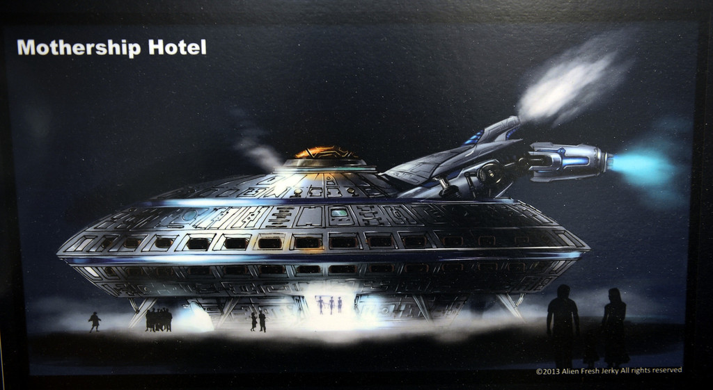 . Artist rendering of the hotel to be built at Alien Fresh Jerky in Baker, CA, Thursday, April 3, 2014. The owner is planning to build a UFO shaped hotel behind the popular Alien Fresh Jerky store. (Photo by Jennifer Cappuccio Maher/Inland Valley Daily Bulletin)