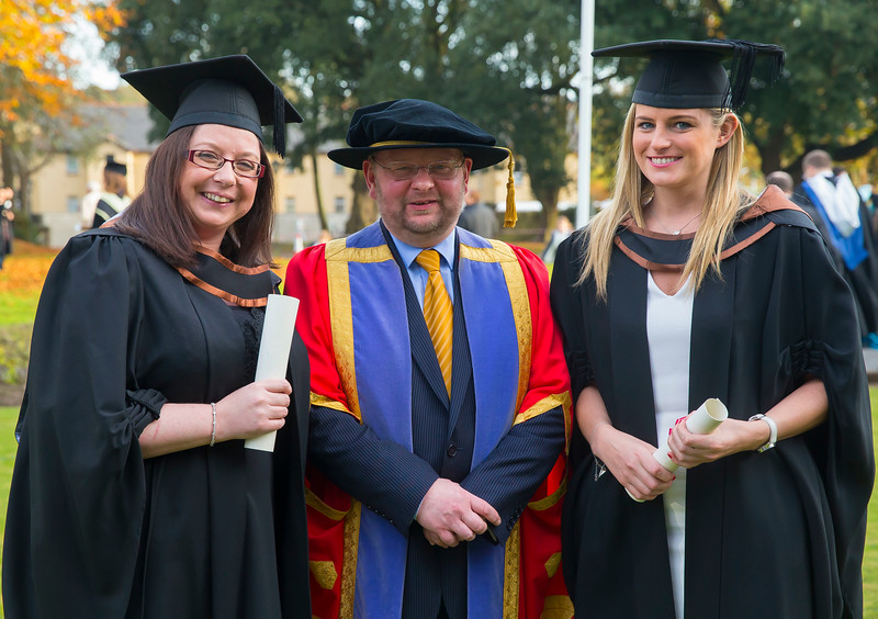 02/11/2016. Waterford Institute of Technology (WIT) Conferring Ceremonies November 2016. Pictured is Caroline McCabe from Dublin who graduated BA (Hons) in Teaching in Further and Adult Education and Jennifer Dick from Donegal who Graduated BSc in Airline Transport Operations, also pictured is Dr Derek O'Byrne, Registrar WIT. Picture: Patrick Browne