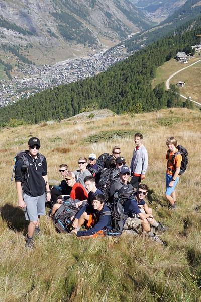 Some of the boys taking a break with Zermatt below