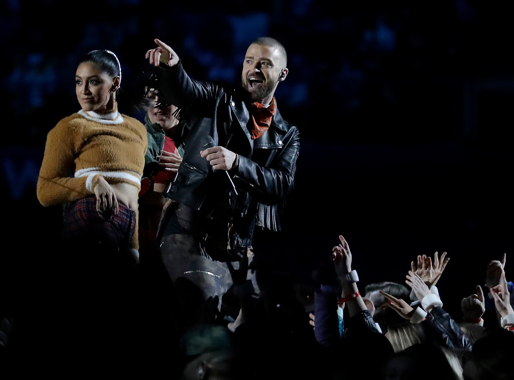 . Justin Timberlake performs during halftime of the NFL Super Bowl 52 football game between the Philadelphia Eagles and the New England Patriots Sunday, Feb. 4, 2018, in Minneapolis. (AP Photo/Mark Humphrey)