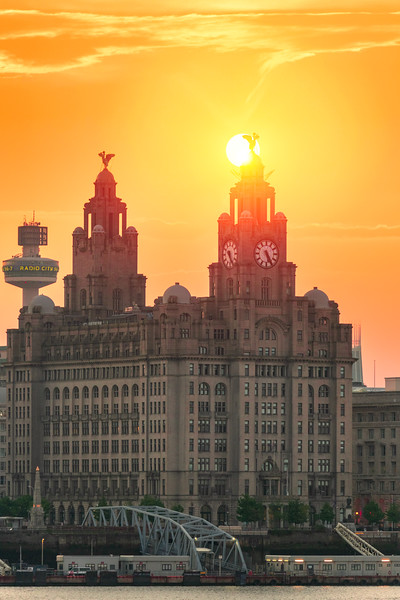 Sunrise over Royal Liver Building, Liverpool