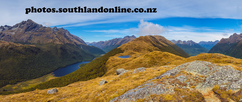 Panoramic view of beautiful mountains on Routeburn track, New Zealand