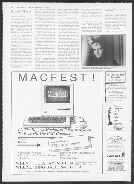 Daily Trojan, Vol. 100, No. 16, September 24, 1985