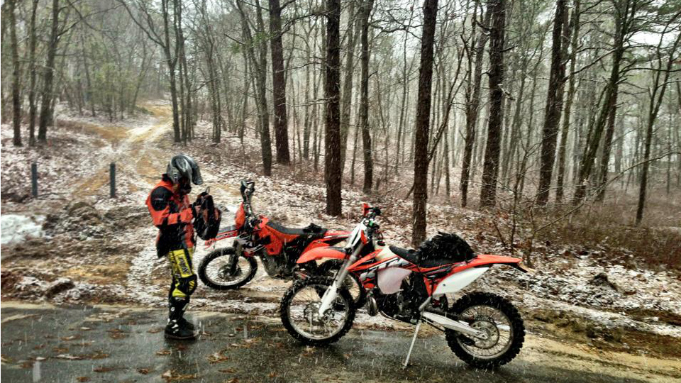 a dusting of snow and KTMs