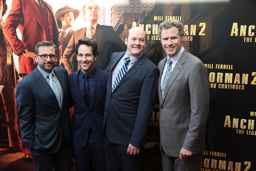 ". Actors, from right, Will Ferrell, David Koechner, Paul Rudd, and Steve Carell pose at the Australian premiere of movie ""Anchorman 2\"" in Sydney, Australia, Sunday, Nov. 24, 2013. (AP Photo/Steve Christo)"