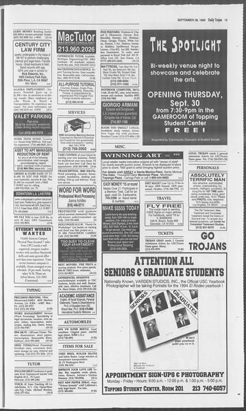 Daily Trojan, Vol. 121, No. 20, September 28, 1993
