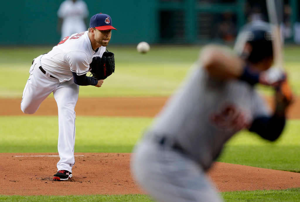 . Cleveland Indians starting pitcher Corey Kluber delivers against Detroit Tigers\' Miguel Cabrera during the first inning of a baseball game, Monday, May 19, 2014, in Cleveland. (AP Photo/Tony Dejak)