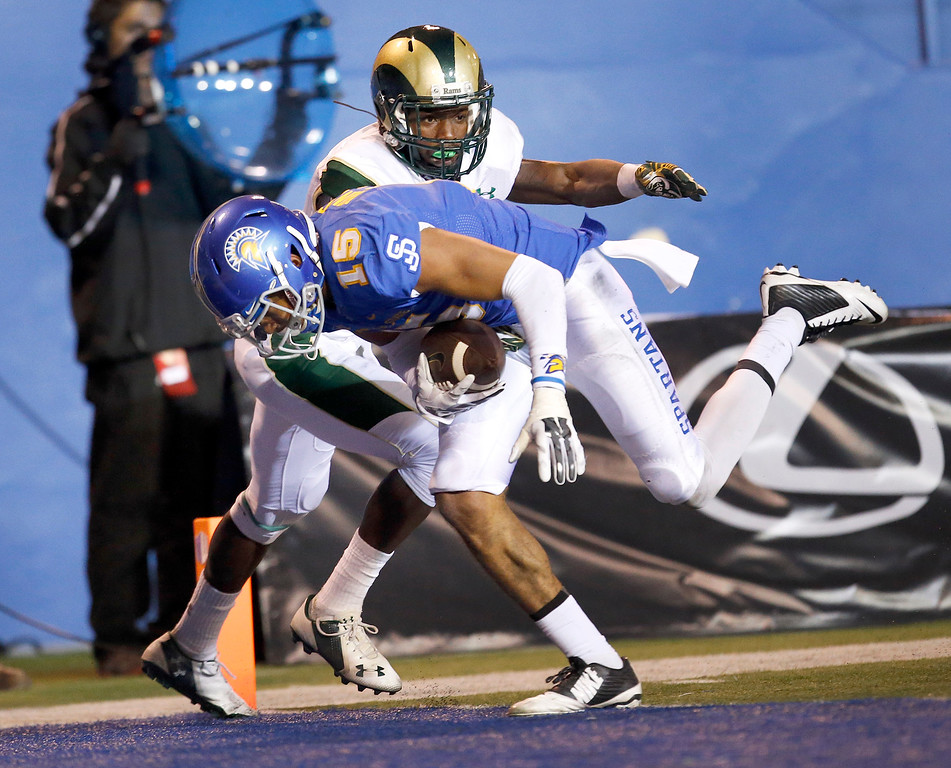 . Jose State wide receiver Tyler Winston (15) runs into the end zone for a touchdown past Colorado State defensive back Bernard Blake  during the second half of an NCAA college football game Saturday, Nov. 1, 2014, in San Jose, Calif. (AP Photo/Tony Avelar)