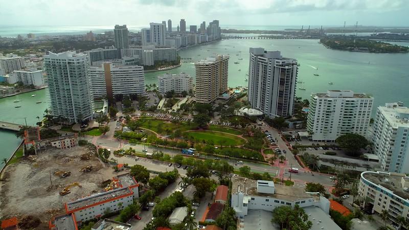 Aerial drone footage tour Belle Isle Miami Beach Florida