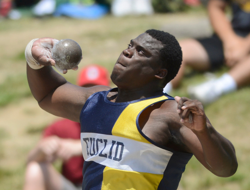 . Maribeth Joeright/MJoeright@News-Herald.com <p> Euclid\'s Jeremiah Peters winds up to throw in the Division I boys shot put during the state track and field championship meet in Columbus,  June 7, 2014. Peters took fourth place in the event.
