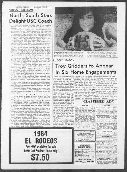 Summer Trojan, Vol. 14, No. 10, July 27, 1964