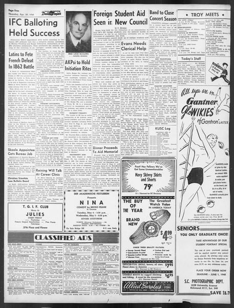 Daily Trojan, Vol. 39, No. 129, April 29, 1948