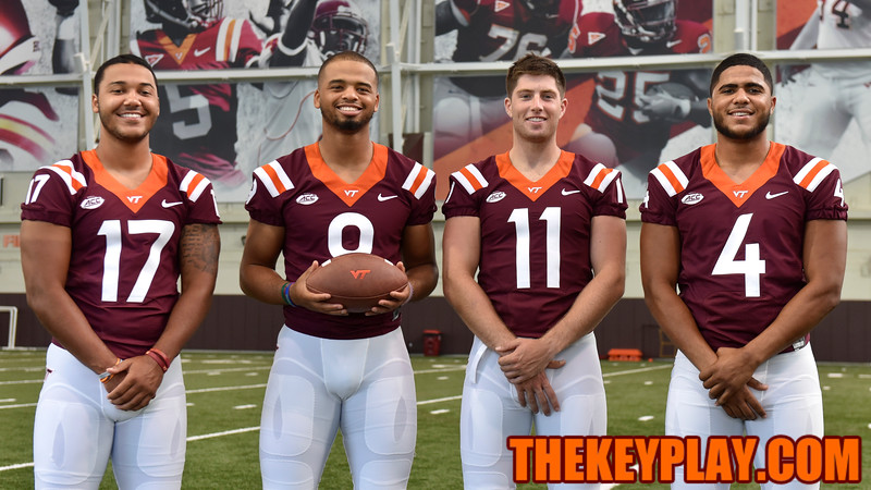 Quarterbacks (l to r) Josh Jackson, Brenden Motley, Jack Click, and Jerod Evans pose for a group photo. (Michael Shroyer/ TheKeyPlay.com)