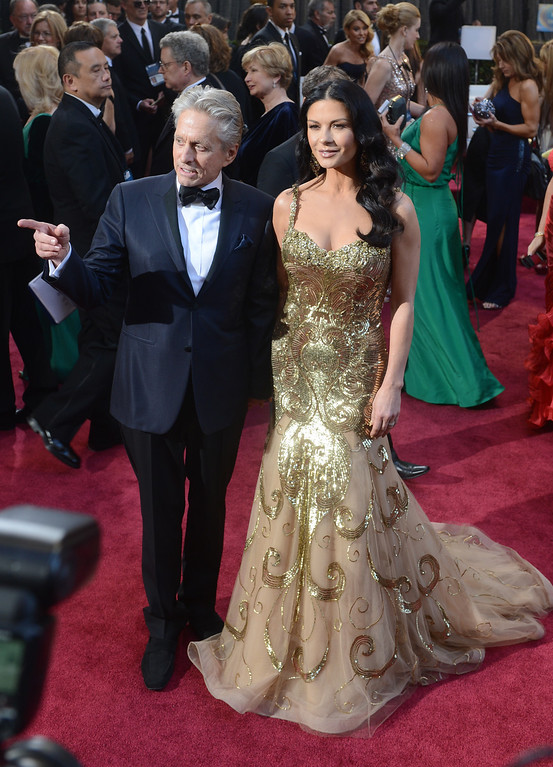 . Michael Douglas and Catherine Zeta-Jones arrives at the 85th Academy Awards at the Dolby Theatre in Los Angeles, California on Sunday Feb. 24, 2013 ( Hans Gutknecht, staff photographer)