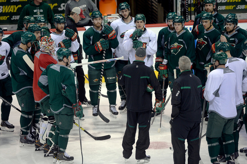 . The Minnesota Wild were back on the ice in St. Paul on Wednesday preparing for the fourth game in the series Thursday night. The Minnesota Wild defeated the Colorado Avalanche 1-0 in overtime at the Xcel Energy Center in St. Paul Monday night, April 21, 2014. (Photo by Karl Gehring/The Denver Post)