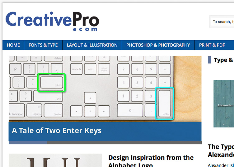 A Tale of Two Enter Keys article on CreativePro.com