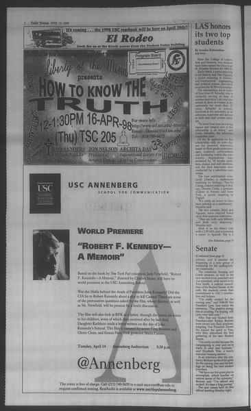 Daily Trojan, Vol. 133, No. 58, April 14, 1998
