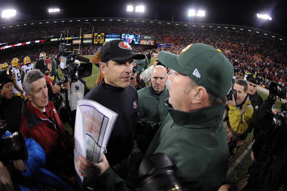 Description of . Head coach Mike McCarthy (R) of the Green Bay Packers congratulates head coach Jim Harbaugh (L) of the San Francisco 49ers after their NFC Divisional Playoff Game at Candlestick Park on January 12, 2013 in San Francisco, California. The San Francisco 49ers defeated the Green Bay Packers 45 to 31. (Photo by Harry How/Getty Images)
