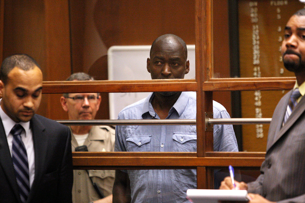 ". Actor Michael Jace appears in Los Angeles Superior Court in Los Angeles Thursday, May. 22, 2014. A judge has delayed the arraignment of actor Michael Jace on a murder charge filed over his wife\'s shooting death earlier this week. Attorneys for Jace, who played a police officer in the hit TV series ""The Shield,\"" sought a continuance during the actor\'s first court appearance in Los Angeles on Thursday. He\'s due back in court June 18. The 51-year-old was charged Thursday with a single count of murder and he is accused of shooting his wife April multiple times in their home Monday evening. If convicted, Jace faces 50 years to life in prison. (AP Photo/David McNew, Pool)"
