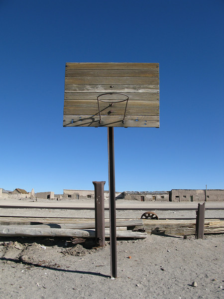 basketball in an abandoned town