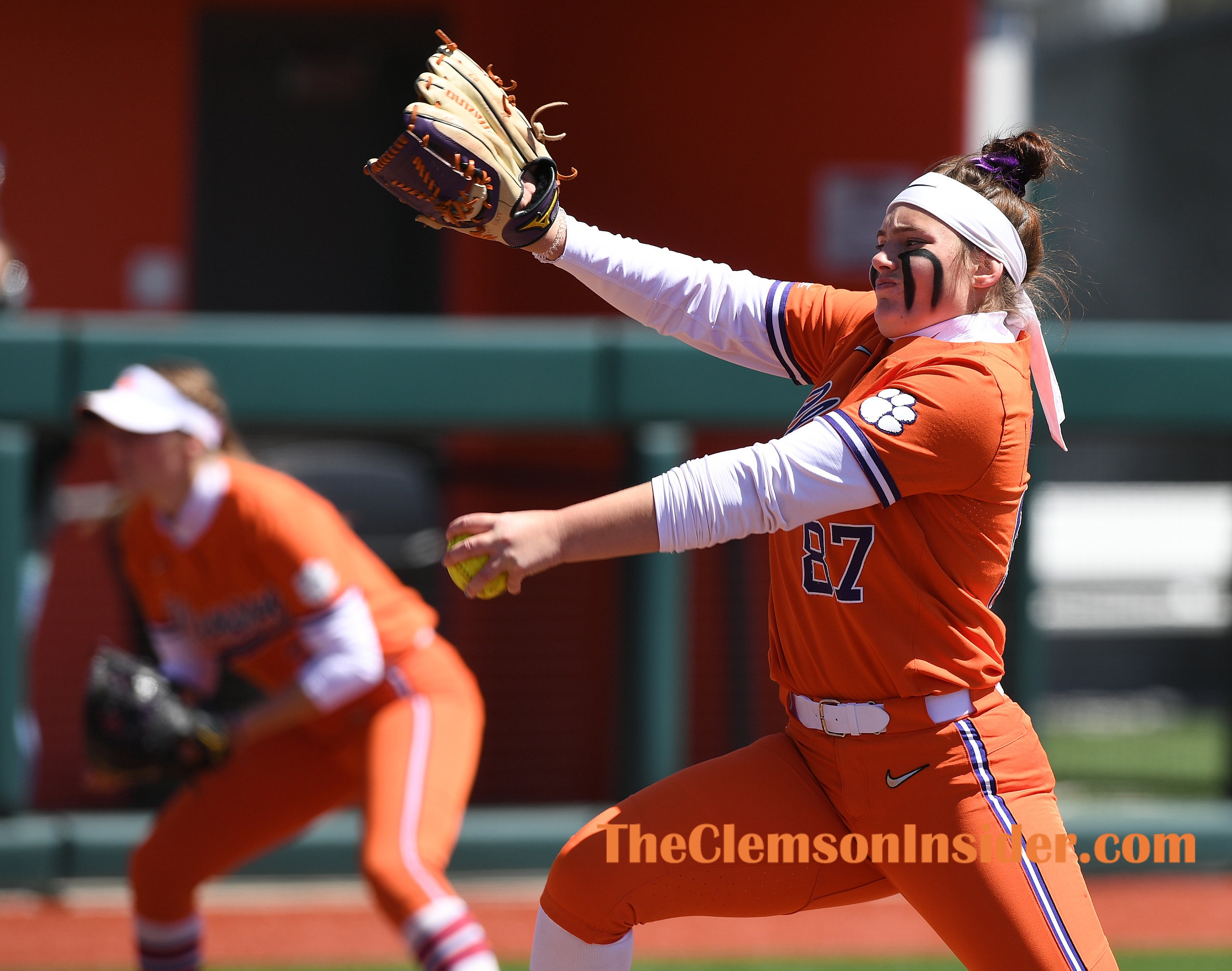 Clemson pitcher Millie Thompson (87) pitches against North Carolina Friday, April 2, 2021 at Clemson's McWhorter Stadium. Bart Boatwright/The Clemson Insider
