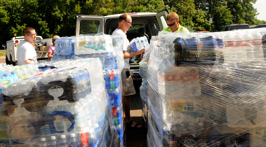 . Water and supplies meant for searchers were loaded up for the Salvation Army on Thursday in the parking lot of Polk-County Electric Cooperative in Centuria, Wis. The leftover supplies will be donated to area food-relief agencies. (Pioneer Press: Jean Pieri)