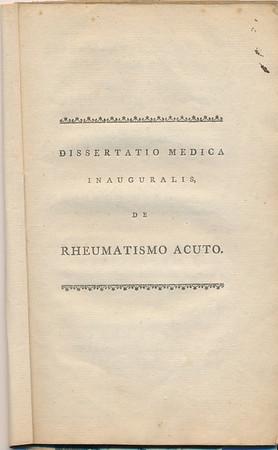 1787 Richard Sharpe Kissam Medical Dissertation