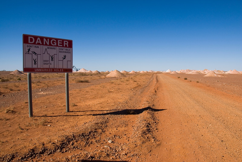 Danger Sign and Mine Area - Coober Pedy, South Australia