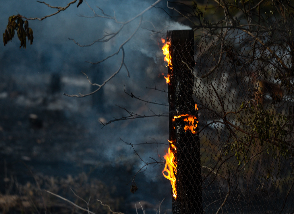 . A property is burned in the 600 acre Mias Fire in Mias Canyon north of Banning, Calif. on Monday, Aug. 14, 2017. About 255 firefighters, seven air tankers and three water-dropping helicopters fought the fire, which was at 600 acres and five-percent containment Monday evening. (Photo by Rachel Luna, The Press-Enterprise/SCNG)