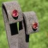 .79ctw Oval Padparadscha Sapphire Bezel Stud Earrings 13