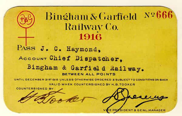 Bingham & Garfield Railway 1916