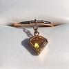 .84ct Fancy Deep Orange-Yellow Shield Shape Diamond Charm Ring 0