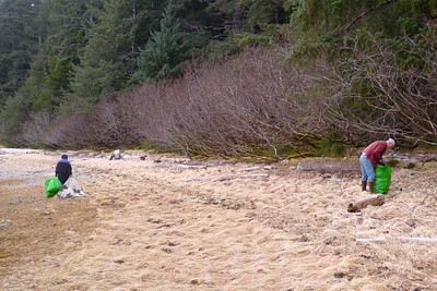 Cleaning a Stretch of Shoreline in Our Cove April 2013, Cynthia Meyer, Chichagof Island, Alaska