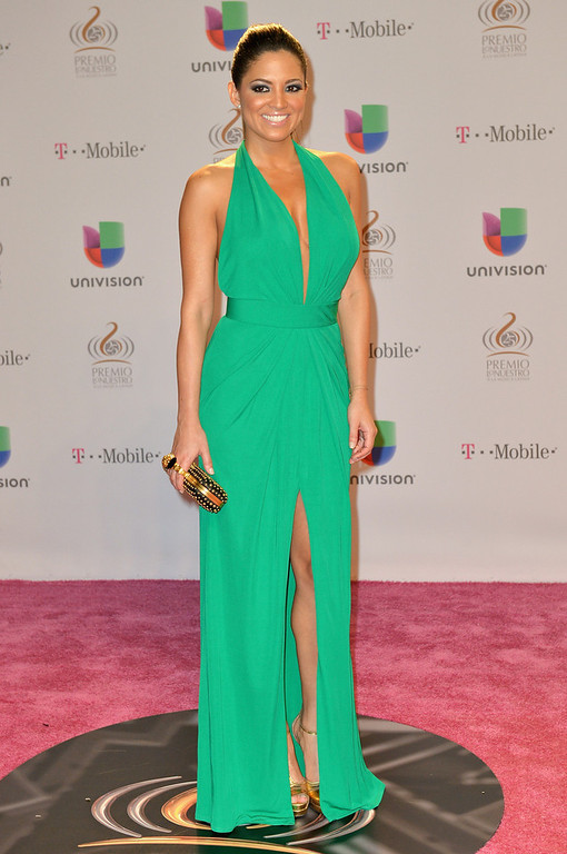 ". Pamela Silva Conde arrives at the 25th Anniversary Of Univision\'s ""Premio Lo Nuestro A La Musica Latina\"" on February 21, 2013 in Miami, Florida.  (Photo by Gustavo Caballero/Getty Images for Univision)"