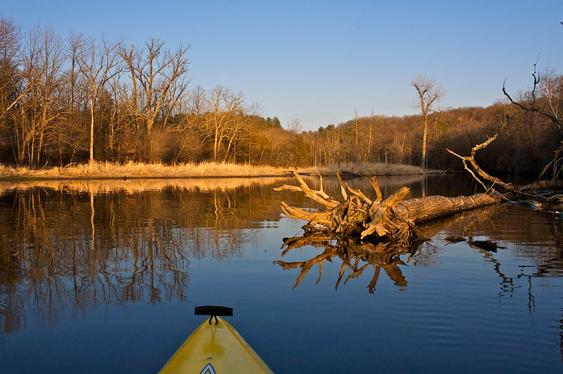 First kayak run of the year at sunset. What a difference in just one week. It was snowing with ice 6 days before. Willow River State Park Wisconsin.
