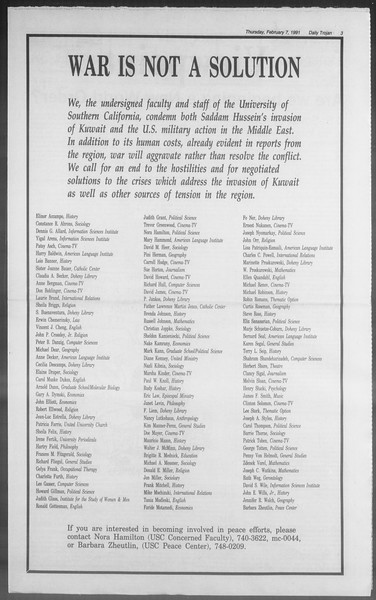 Daily Trojan, Vol. 114, No. 20, February 07, 1991
