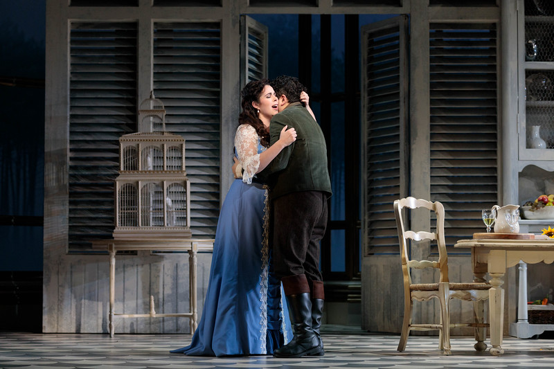 "Amanda Woodbury as Violetta and Kang Wang as Alfredo in The Glimmerglass Festival's 2019 production of ""La traviata."" Photo: Karli Cadel/The Glimmerglass Festival"