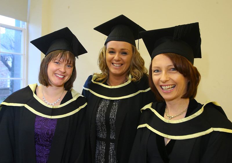 Waterford Institute Of Technology Conferring. Pictured at WIT Waterford Institute Of Technology Conferring are Catherine Cavallari Passage East Waterford, Lisa Harte, Offally and Audrey Coveney, Tramore who graduated Master of Science in Nursing. Picture: Patrick Browne