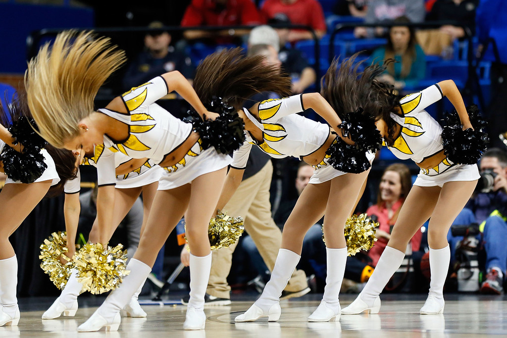 . LEXINGTON, KY - MARCH 21:  Cheerleaders for the Missouri Tigers perform during the second round of the 2013 NCAA Men\'s Basketball Tournament at the Rupp Arena on March 21, 2013 in Lexington, Kentucky.  (Photo by Kevin C. Cox/Getty Images)