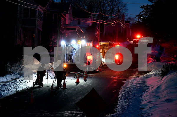 1/10/2018 Mike Orazzi | Staff Crews on scene of an odor of gas on Seymour Street in Bristol Wednesday evening.