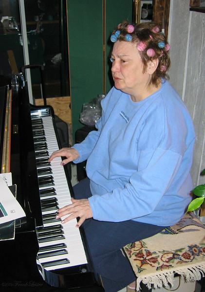 Shirley Lebin playing piano at the Lebin house, Feb 24 2002.