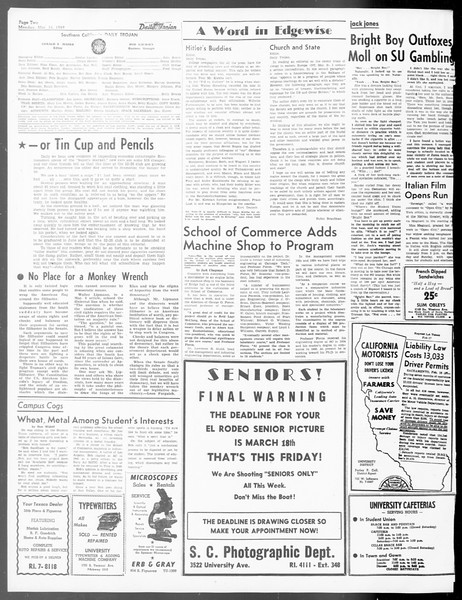 Daily Trojan, Vol. 40, No. 97, March 14, 1949