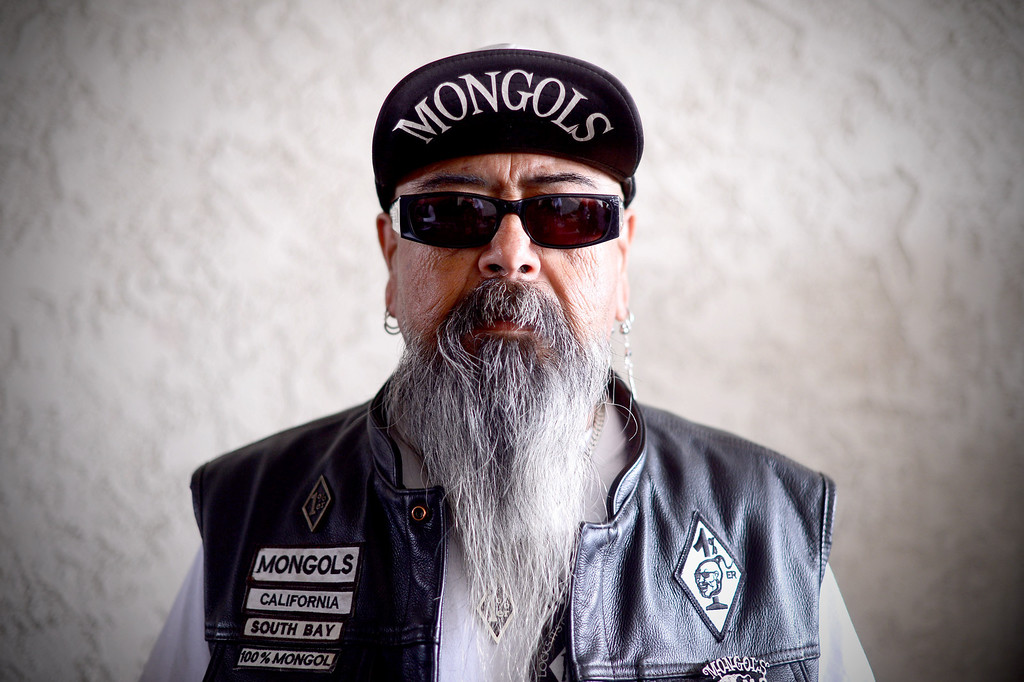 . Mexican Don, of the Mongols South Bay Chapter, poses as motorcycle club members rally Saturday, March 29, 2013 at The House Lounge in Maywood in support of the Mongols who are facing a federal trial seeking to take away their trademark patch. (Photo by Sarah Reingewirtz/Pasadena Star-News)