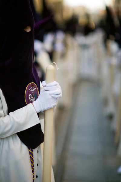 Row of hooded penitents, Holy Week, Seville, Spain