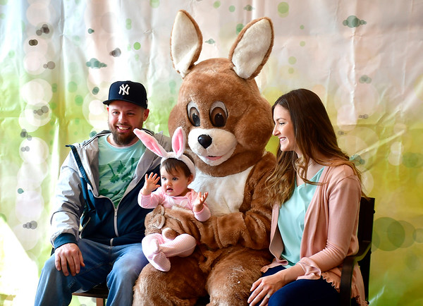 4/6/2019 Mike Orazzi | Staff Matt and Melissa Dowling with their daughter Nora, 9 months, visit the Easter Bunny at the Stanley Golf Courses Back Nine Tavern Saturday morning.