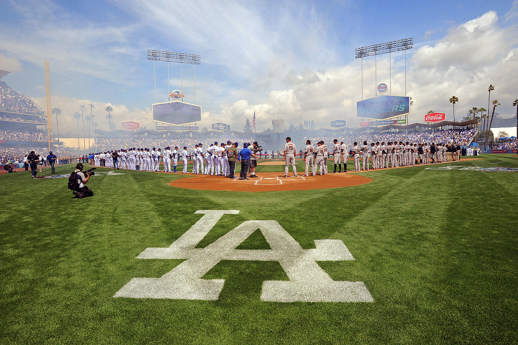 . Players are introduced on opening day at Dodger Stadium April 1, 2013.  The Dodgers defeated the San Francisco Giants 4-0.(Andy Holzman/Staff Photographer)