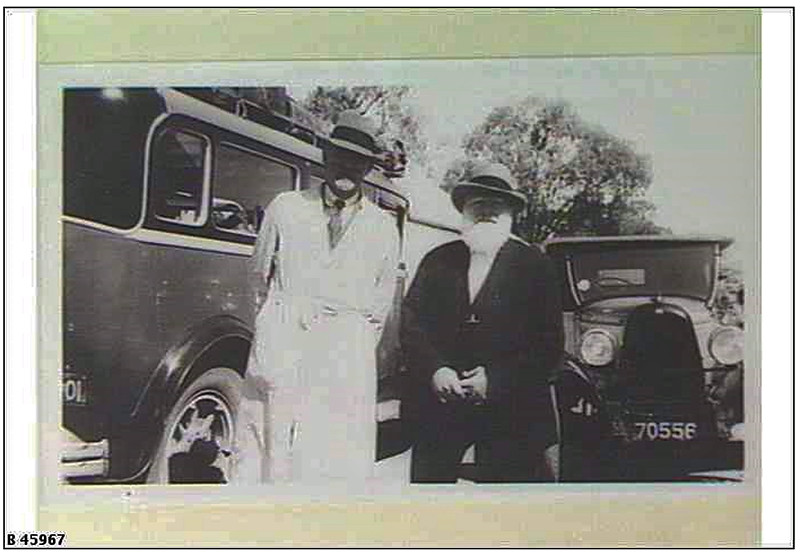 Wally Pendle (in white dustcoat) and his bus, a REO at Overland Corner. Photo c1928. (Image from the Pendle Family Collection)