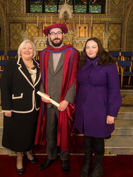 Pictured is Enda Coates, Newbridge, Co Kildare who was conferred a Doctor of Philosophy, also pictured is Marie and Heather Coates. Picture: Patrick Browne.