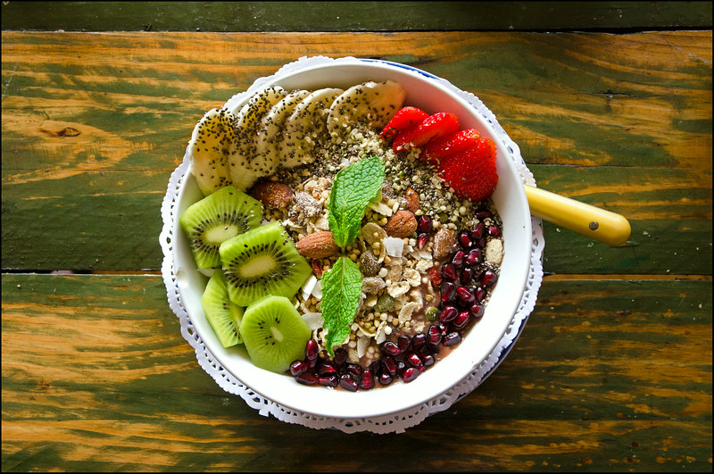 'Acai Soul Bowl' - Blended acai, banana and apple with homemade toasted buckwheat and nut granola, fresh seasonal fruit, chia and hemp seeds - $13.00 (gf)