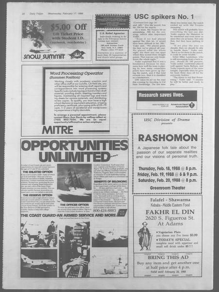 Daily Trojan, Vol. 106, No. 25, February 17, 1988